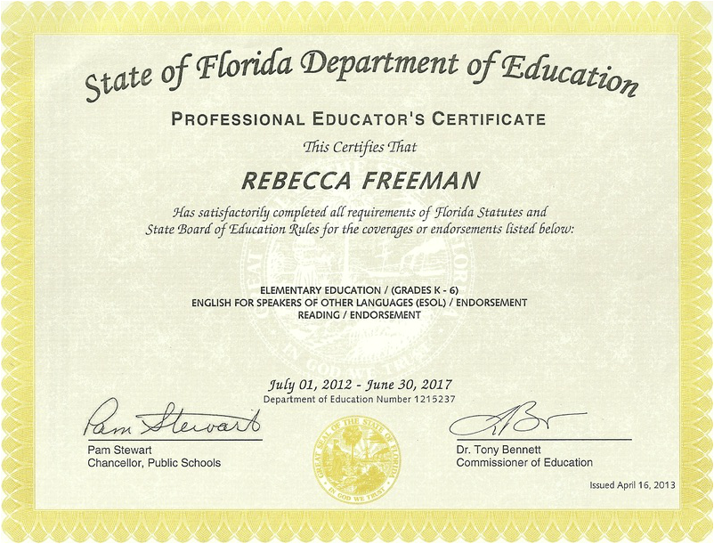 Teaching Credentials - Becky Freeman's Teacher Portfolio
